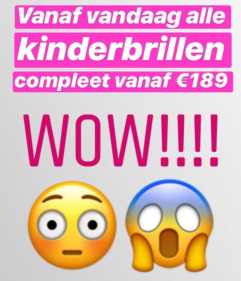 Vaste prijzen voor alle kinderbrillen!!